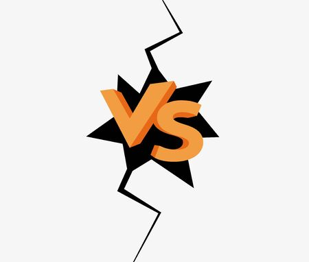 VS final duel competition background. Illustration confrontation between two strong rivals in vertical black crack. Vetores