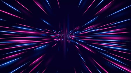 High speed neon hyper jump. Futuristic neon effect flying through space. Vector Illustration