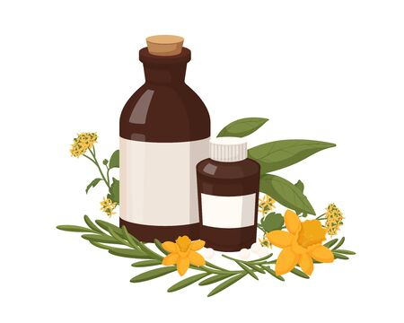 Homeopathy natural medicine. Healthy organic treatment two brown bottles with oil extracts herbs homeopathic natural flat healing from diseases power vector colored healing plants naturopathy.