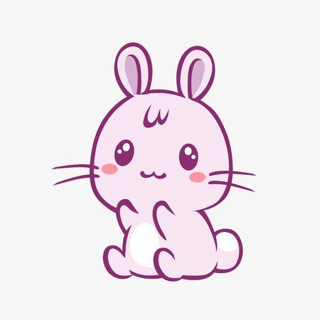Kawaii rabbit cartoon. Cheerful funny little pink rabbit with red cheeks touched anime style manga charming fantasy cute vector art magic creative fairy tale design.
