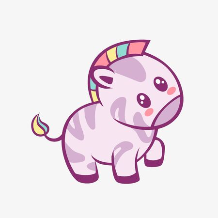 Zebra kawaii cartoon. Smiling funny little zebra with rainbow mane and touched anime style charming fantasy manga cute vector art magic creative fairy tale design.