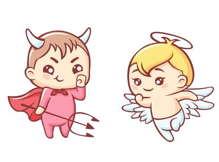 Little angel and demon cartoon. Kawaii cute angel with halo and funny demon trident in red cloak plotting plan funny vector anime confrontation between good and evil.