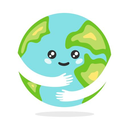 Happy kawaii planet earth. Cartoon blue planet earth with green continents joyfully hugs itself with hands global celebration of healthy ecosystem protection environment vector.
