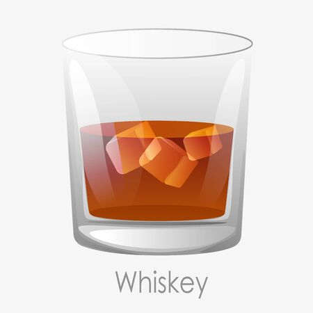 Whiskey ice glass. Scotch dark orange colour ice cubes aged old bourbon glass old fashion brandy drink clipart relaxation luxury vector cognac restaurants, bars.