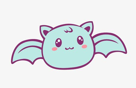 Kawaii bat cartoon. Enthusiastic funny little blue bat with wings and red blush anime style charming fantasy manga cute vector art magic creative fairy tale design.