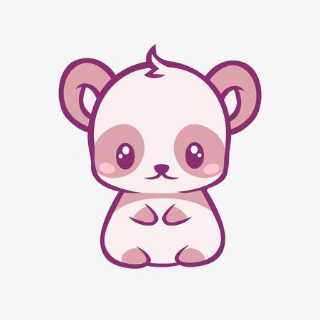 Teddy bear kawaii cartoon. Sad funny little teddy bear with big eyes depressively seated anime fantasy style charming manga cute creative vector art magic fairy tale design. Ilustração