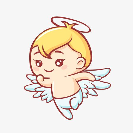 Little angel cartoon. Kawaii smiling cute angel yellow haircut with wings and halo, plotting plan funny vector anime graphic design of little good.