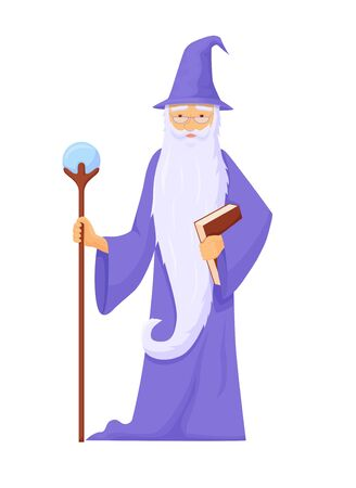 Archmage with ancient staff. Wizard connoisseur ice magic long gray beard blue robe with staff power crystal powerful creation energy and destruction fantasy cartoon vector.  イラスト・ベクター素材
