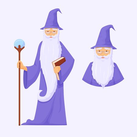 Powerful war mage avatar. Wizard is connoisseur of arcane magic with long gray beard blue robe with staff crystal power powerful energy creation and destruction fantasy cartoon vector.