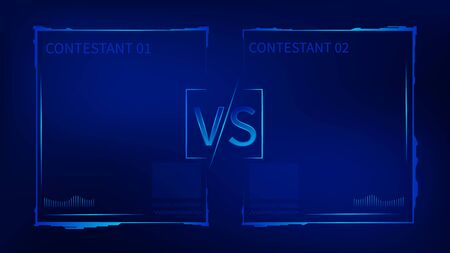 Tech VS challenge battle competition template. Confrontation between two power fantastic adversary in hologram futuristic style versus colorful symbol duel sports fighting to win final vector round.