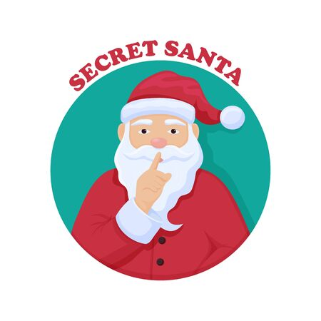 Secret Santa Chris Kindle. Merry Christmas anonymous gift exchange ceremony mysterious Santa red suit hat with white beard asks to keep secret traditional happy vector holidays. 矢量图像