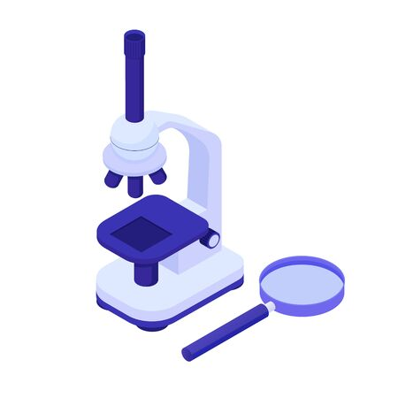 Microscope with magnifying glass isometric. Scientific biological research tool new sensational discoveries search achievements knowledge microworld modern vector development microtechnologies.
