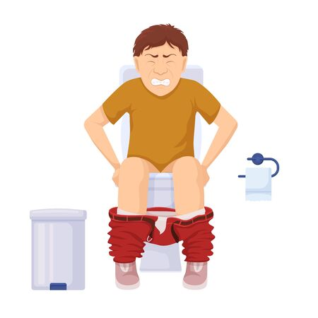 Character with constipation in toilet. Man stomach problems sits on toilet grimace pain exertion aggravated hemorrhoids severe vector diarrhea unhealthy cartoon food sedentary work