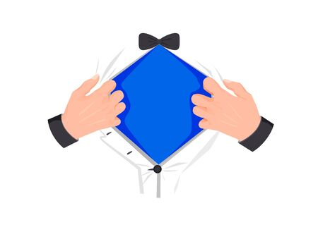 Superhero chest template. Mens hands open superhero blue tshirt symbol powerful strength and power sign of fair justice and opportunity to make all vector efforts.