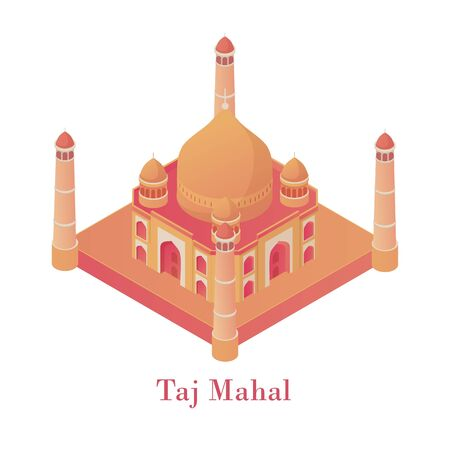 Taj Mahal isometric. Ancient architectural monument of India beautiful Agra palace red sandstone lined marble precious stones traditional design tomb kings wife with four vector minarets. Ilustração
