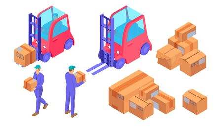 Delivery preparation process isometric. Warehouse workers blue uniform prepare boxes loading courier heavy loads transported forklift truck logistics distribution vector orders sending online orders Vector Illustratie