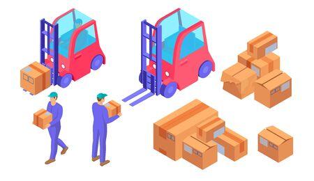 Delivery preparation process isometric. Warehouse workers blue uniform prepare boxes loading courier heavy loads transported forklift truck logistics distribution vector orders sending online orders Ilustração Vetorial