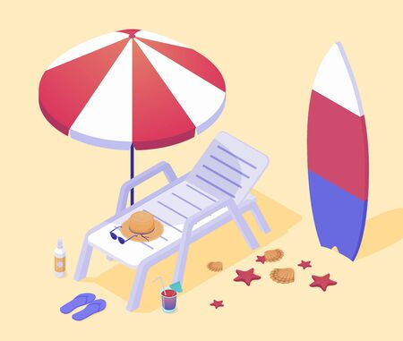 Empty lounger on sea beach. White plastic clamshell under stylish red white umbrella surfboard on hot yellow sand with starfish shells fashionable sunglasses vector hat clipart.