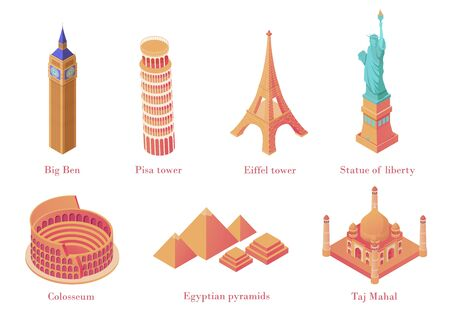 Architectural tourist attractions isometric. Old historical monuments Big Ben London leaning tower in Pisa Eiffel Tower in Paris Statue Liberty in New York Colosseum Rome complex of Egyptian pyramids. Illusztráció