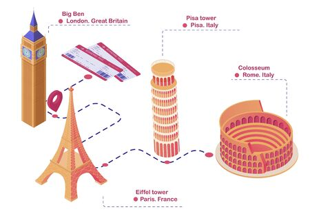 Trip route sights Europe isometric illustration. Planned travel map London Big Ben first stopping point Paris Eiffel Tower Italy Pisa leaning tower leaning vector and Rome Colosseum.
