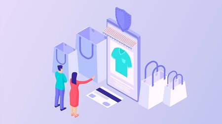 Buying clothes online isometric concept. Purchase fashionable clothes using online store applications payment vector credit card upon receipt from courier modern electronic commerce.