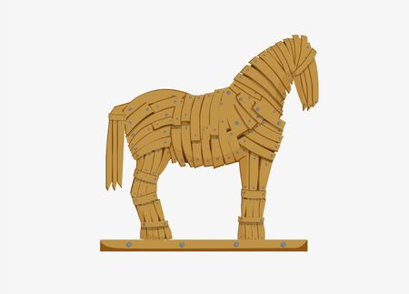 Trojan horse illustration. Mythicaln statue horse military deception Greek troops monument to historical trick war imperceptible penetration infliction of tangible vector damage. 일러스트