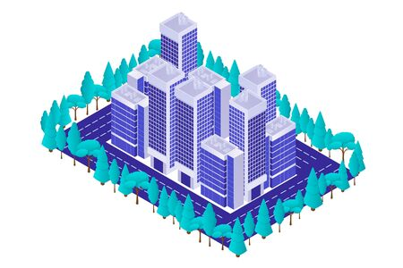 Business quarter with skyscrapers and park isometric. Center modern city business high rise buildings highway and green trees on sidelines colorful city exterior vector perspective.