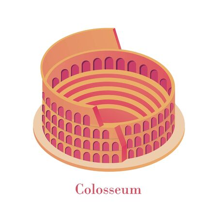 Ancient Colosseum isometric. Famous Italian landmark antique huge orange collise arena gladiatorial fights red brick shows national historical vector monument antique isometric architecture Rome. Stock fotó - 149766373