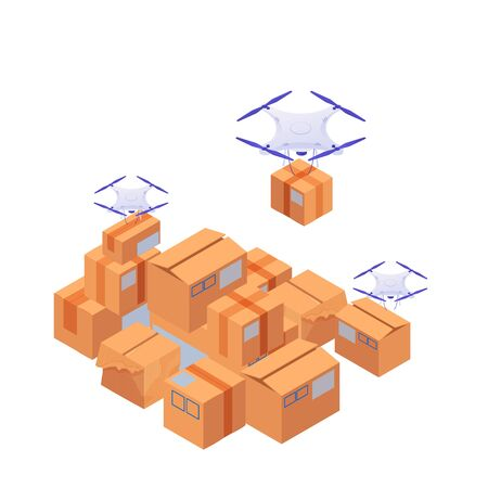 Delivery drones carry and stack boxes isometric illustration. White modern quadrocopters ship sort yellow vector boxes fast loading delivery goods by mobile robotic devices . Ilustração