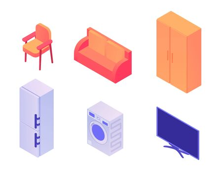 Home appliances and furniture isometric set. Stylish red sofa chair for comfortable work closet things modern two compartment refrigerator electronic washing machine smart plasma vector TV.