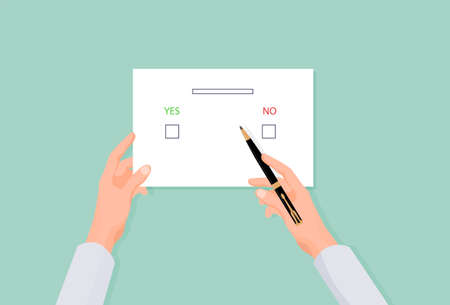 Hands holding an election form. Voting with yes or no choice when electing parties and president deciding democratic referendum registering signing vector document.