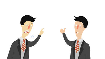 Angry and approving boss. Angry head of company is dissatisfied with business reports and pleased results financial projects manager in suit striped tie director in different vector moods.