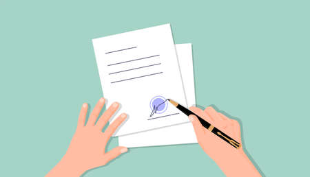 Hands put signature on document. Document work agreement officially certified signature and blue seal,symbol contract employment and financial partnership corporate loan vector offer.