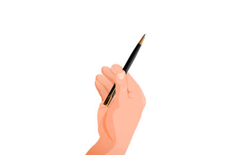 Hand holds pen. Signature symbol for an important document writing articles and memoirs stylish black pencil business negotiations vector communication.
