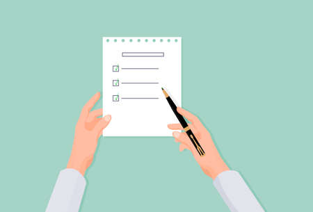 Hands fill list in questionnaire. Choosing right answer in social statistical referendum stylish black pen for ticking right sentence of business vector presentation.