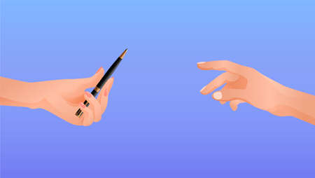 Hands pass each other pen. Help in writing resume message friendly communication helping hand in filling out contract art of vector correspondence.