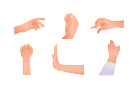 Signs hands set. Different signals symbols made with hands palm forward stop or refusal, clenched fist raised up, indicating cartoon distance concept of silent vector communication.
