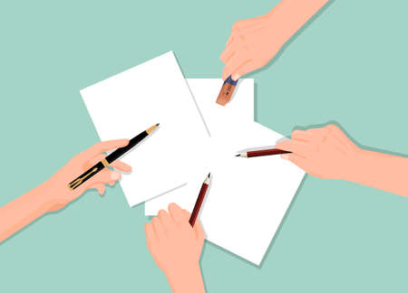 Four hands and paper concept. Development new project hands with pencils and eraser sheets of blank paper group communication achieve flat new vector developments.