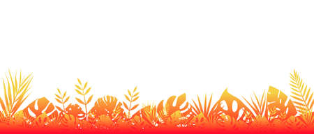 Fern background red fluorescent. Horizontal decoration of tropical forests under scorching sun, floral botanical with elegant saturated leaves fern wild natural lawn rays rising vector sun. Banque d'images - 150756974