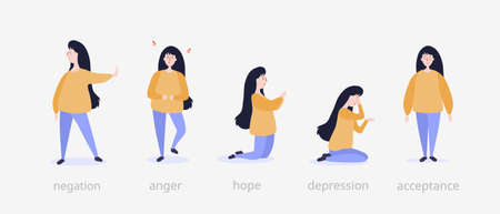 Five steps of grief illustration. Girl at beginning denies event gets angry and enraged hopes on her knees weeps bitterly in depression and finally accepts inevitable psychological vector dilemma. Vecteurs