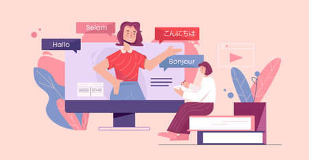 Online language courses illustration. Web training in foreign languages linguistic knowledge electronic book library experienced teacher and manuals for speediest vector learning new communication.