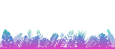 Fern background blue pink. Decoration horizontal rainforests floral botanical background with elegant tenderly leaves of fern wild natural lawn in the rays of the rising vector sun.