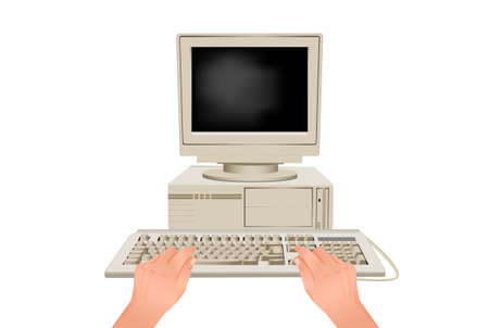 Hands are typing on computer keyboard. Online workplace behind retro pc stylish equipment for modern web work communication business vector marketing use.