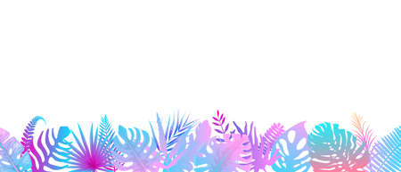Pink turquoise fern background. Horizontal decoration of alien rainforest in the sunshine, floral botanical background with elegant brightly colored fern leaves, wild natural lawn in saturated vector.