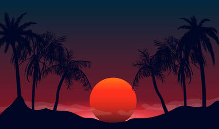 Sunset silhouettes of palm trees at night. Tropical beach on background red black setting sun beautiful paradise coast resort romantic lagoon with exotic vector evening.