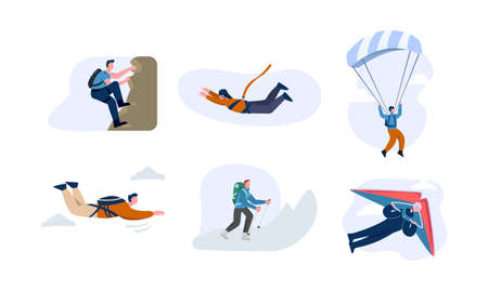 Extreme sport set. Character is engaged in active climbing, puffing with rope descends by parachute quick flight on hang glider extremely cold trips along vector mountains. Illustration