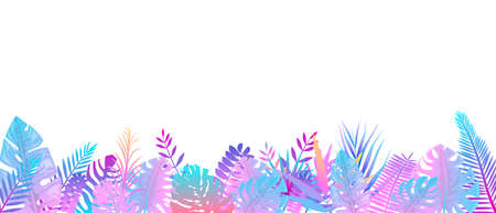 Futuristic pink blue fern background. Horizontal decoration fantasy rainforests in cloudy weather floral botanical background elegant bright fern leaveswild natural lawn in rays of vector sun.
