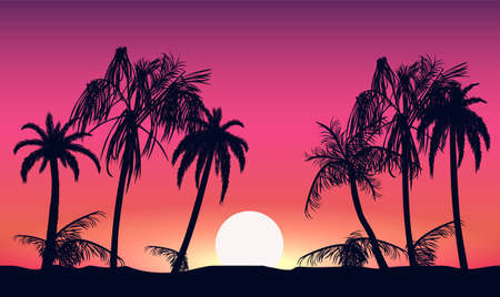 Sunset and silhouettes of palm trees. Tropical beach on background pink setting sun beautiful paradise coast resort romantic lagoon with exotic vector evening. Иллюстрация