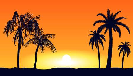 Orange tropical sunset silhouettes of palm trees. Tropical beach on background yellow setting sun beautiful paradise coast resort romantic lagoon with exotic vector evening. Ilustração Vetorial
