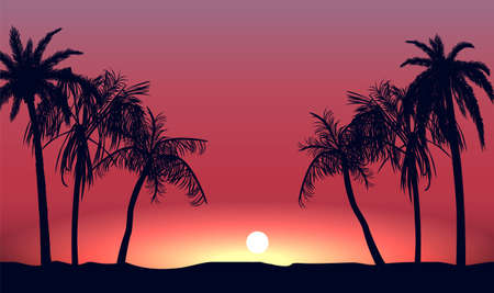 Red sunset and silhouettes of palm alley. Evening tropical beach on background setting sun beautiful paradise coast resort romantic lagoon with exotic vector .